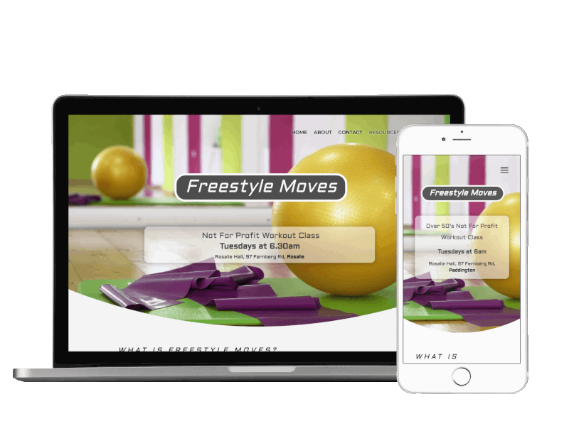 Responsive view of Freestyle Moves site built by Pixelhen Design