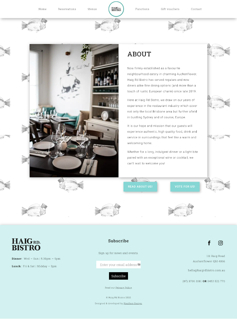 View of Haig Rd Bistro About page built by Pixelhen Design
