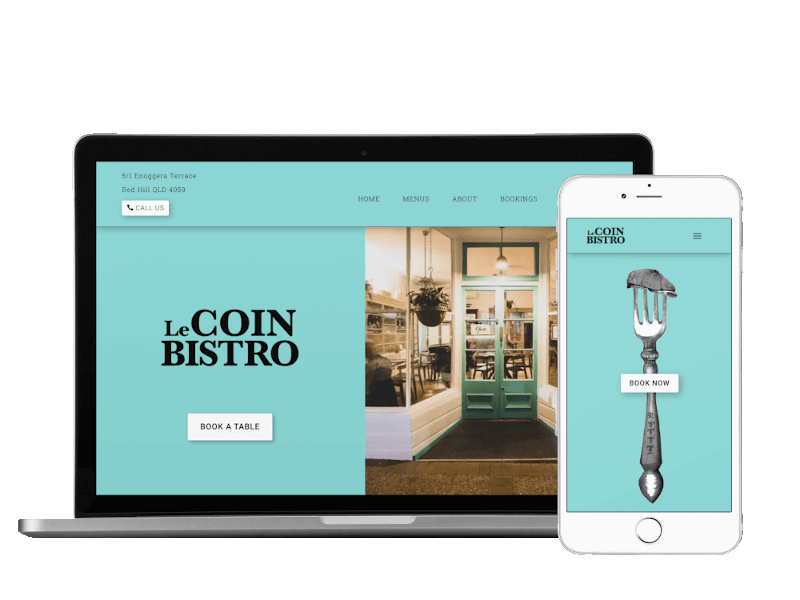 Responsive view of Le Coin Bistro site built by Pixelhen Design