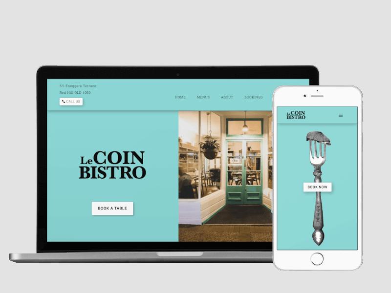Responsive view of Le Coin Bistro site built by Pixelhen Design