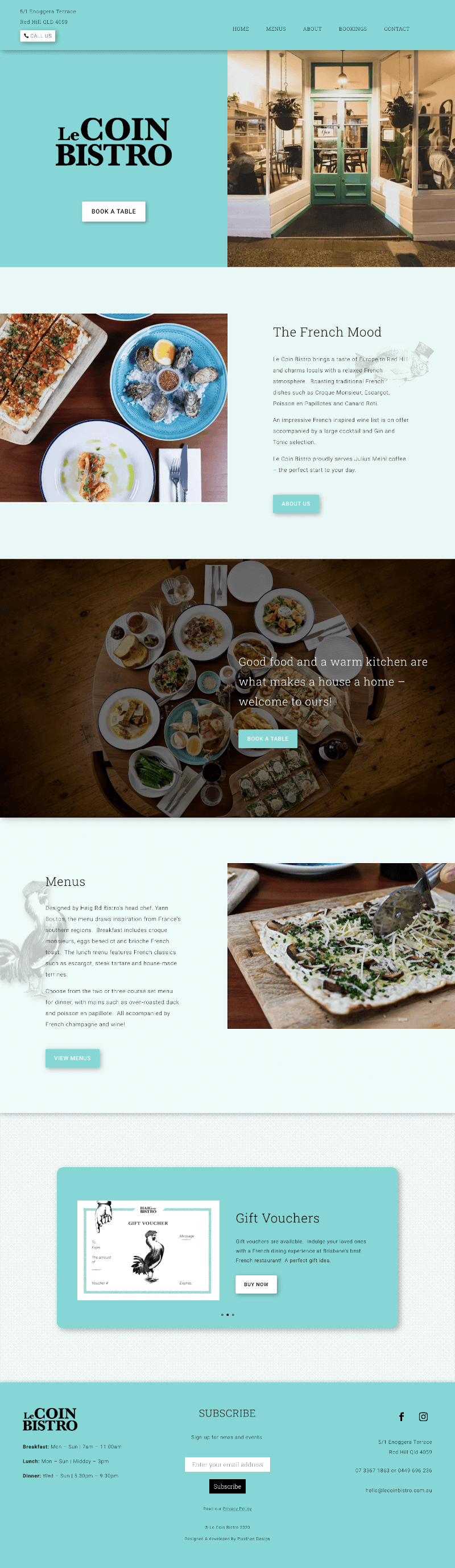 Full screen display of Le Coin Bistro site build by Pixelhen Design