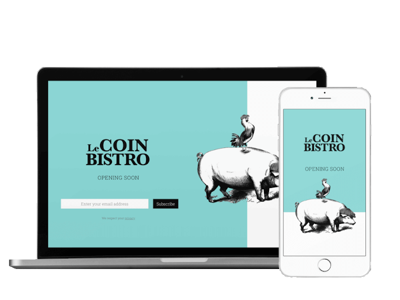 Responsive view of Le Coin Bistro landing page built by Pixelhen Design