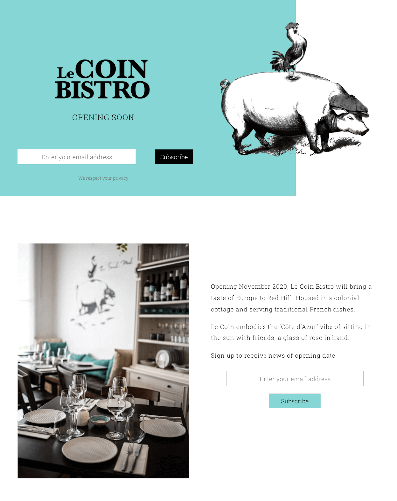Fullscreen display of Le Coin Bistro landing page built by Pixelhen Design