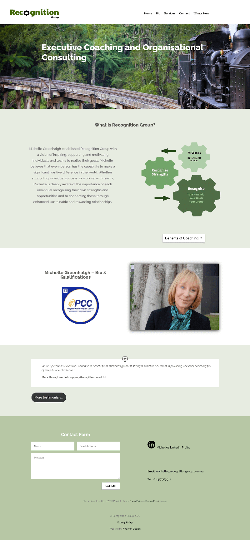 Image showing fullscreen display of Recognition Group site build by Pixelhen Design